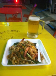 Our Patong Beach street food festival Pad Thai and Chang beer