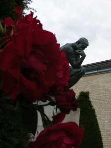'The Thinker' in his rose garden