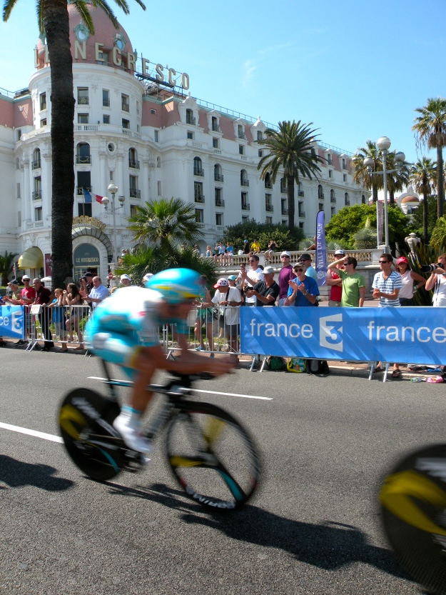 Our spot viewing the race right in front of the famous Negresco Hotel